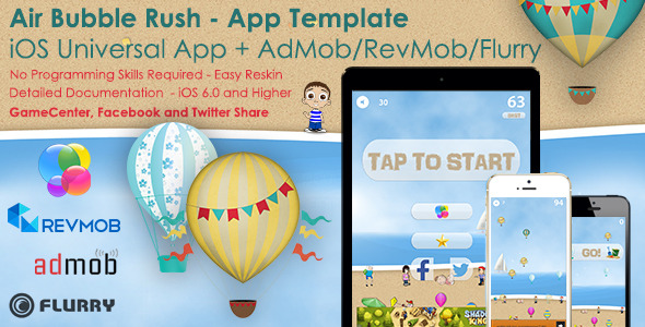 CodeCanyon Air Bubble Rush Universal iOS Full Game App&Ads 8796429