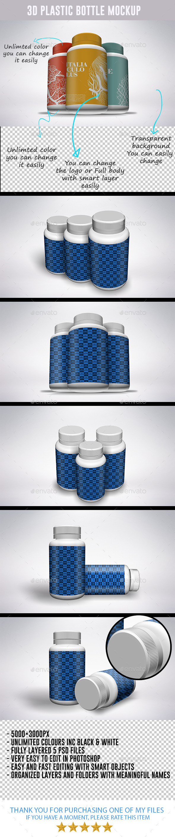 GraphicRiver 3D Vitamin and Pill Bottle Moc-kups 8796449