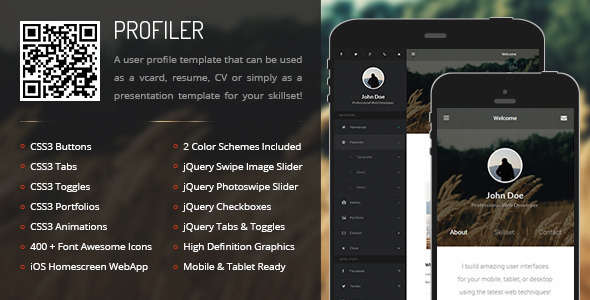 ThemeForest Profiler Mobile & Tablet Responsive Template 8796518