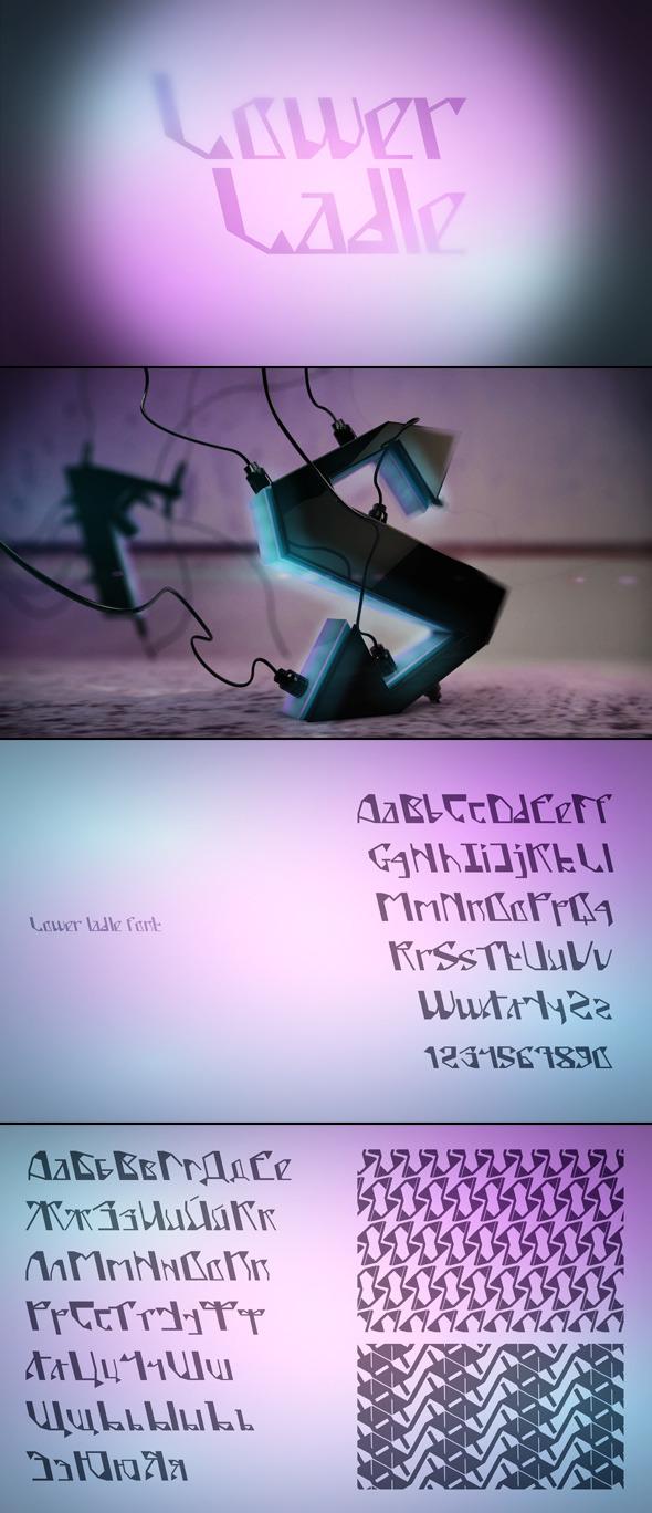 Lower Ladle Font - Futuristic Decorative