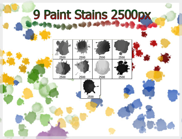 9 Paint Stains Brushes (2500px) - Brushes Photoshop