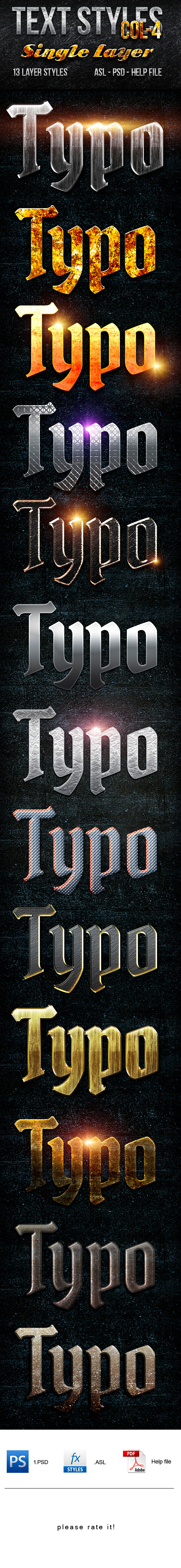 Text Layer Styles -Col 4 - Text Effects Actions