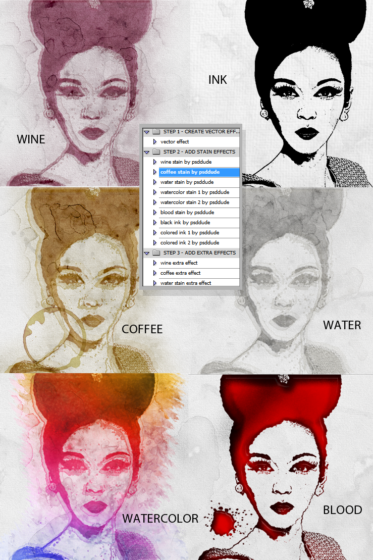 Stain Photoshop Action Generator