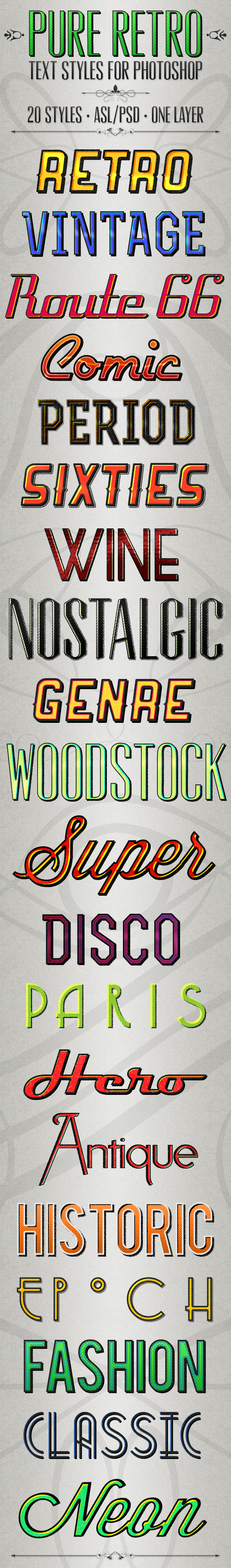 Pure Retro - Text Styles - Text Effects Styles