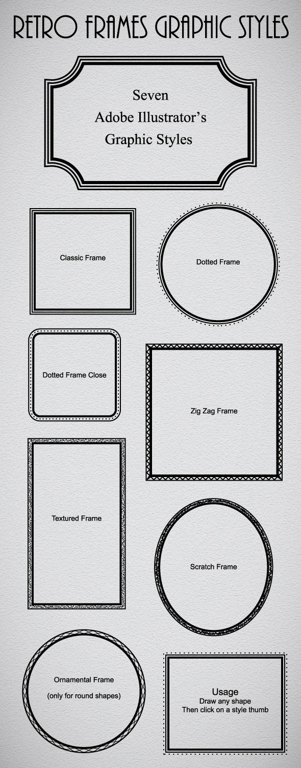 Retro Frames Graphic Styles - Styles Illustrator