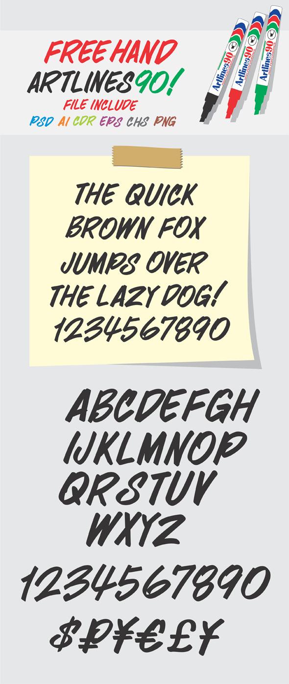 Alphabet Free Hand Artlines 90 Shapes