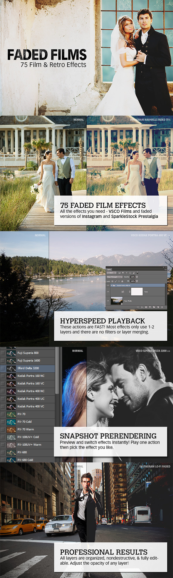 Faded Films - 72 Film & Retro Effect - Photo Effects Actions