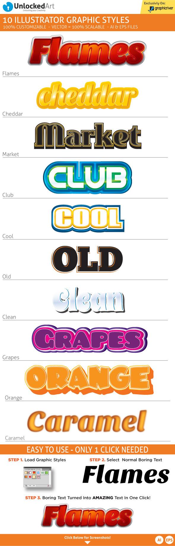 Custom Graphic Styles 2 - Styles Illustrator