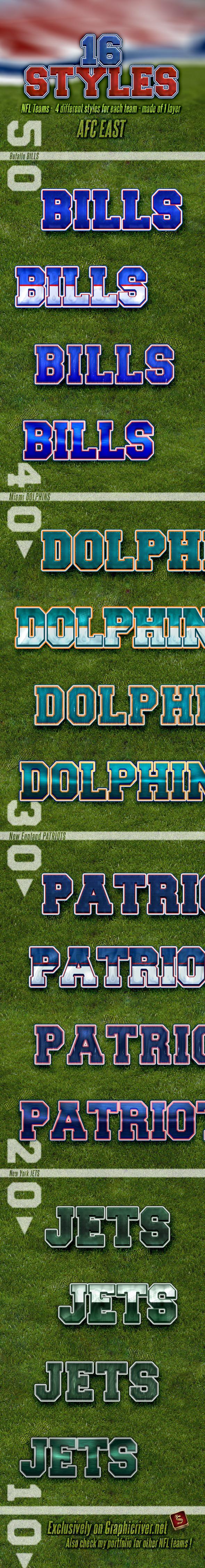NFL Football Styles - AFC East - Styles Photoshop