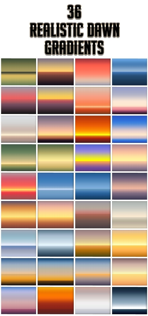 Realistic Dawn Gradients - Photoshop Add-ons