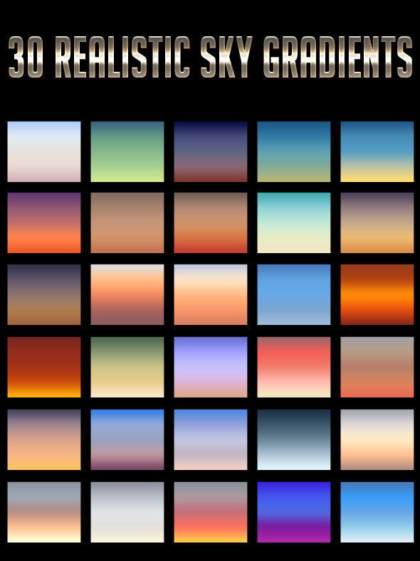 30 Realistic Sky Gradients