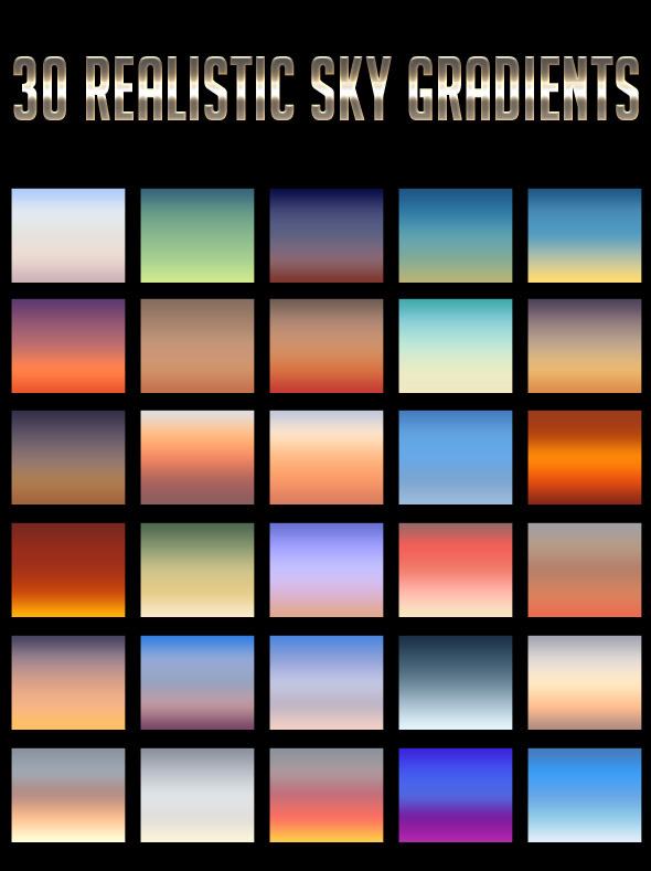 30 Realistic Sky Gradients
