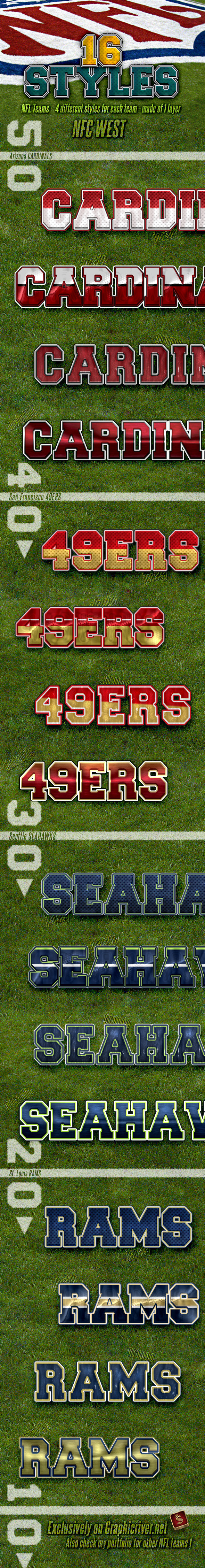 NFL Football Styles - NFC West - Styles Photoshop