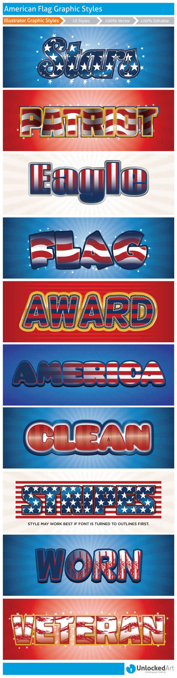 American Graphic Styles 1 - Styles Illustrator
