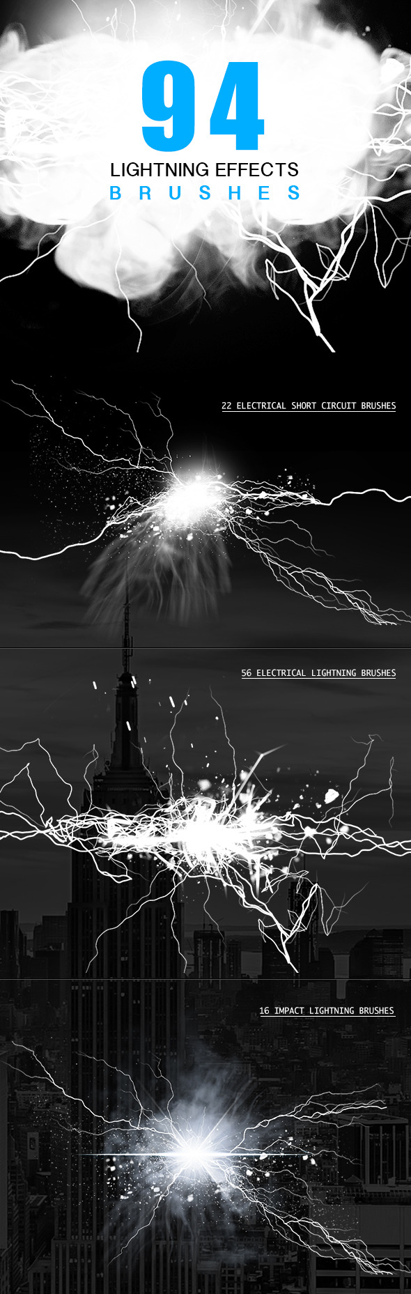 Electrical Lightning Brushes - Brushes Photoshop