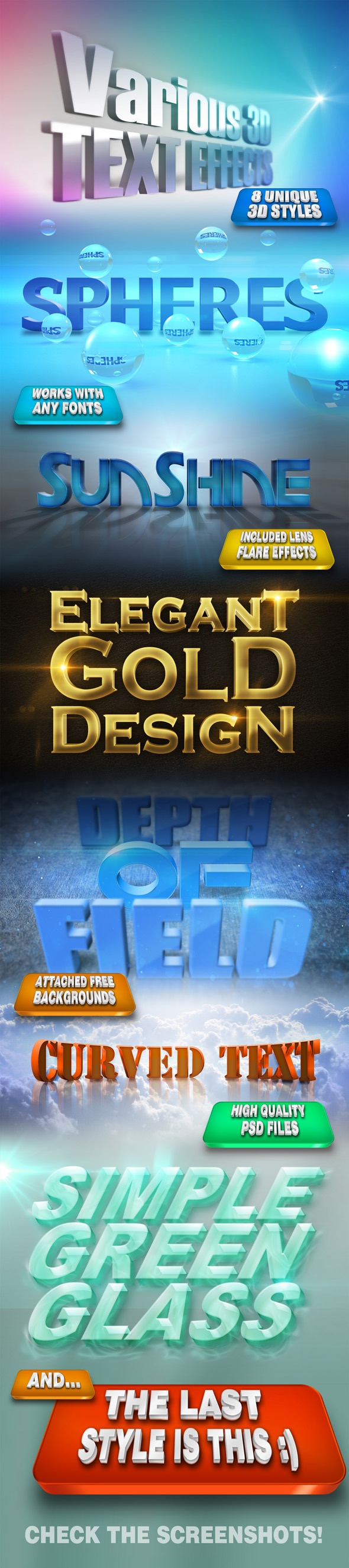 Various 3D Text Effects - Text Effects Actions