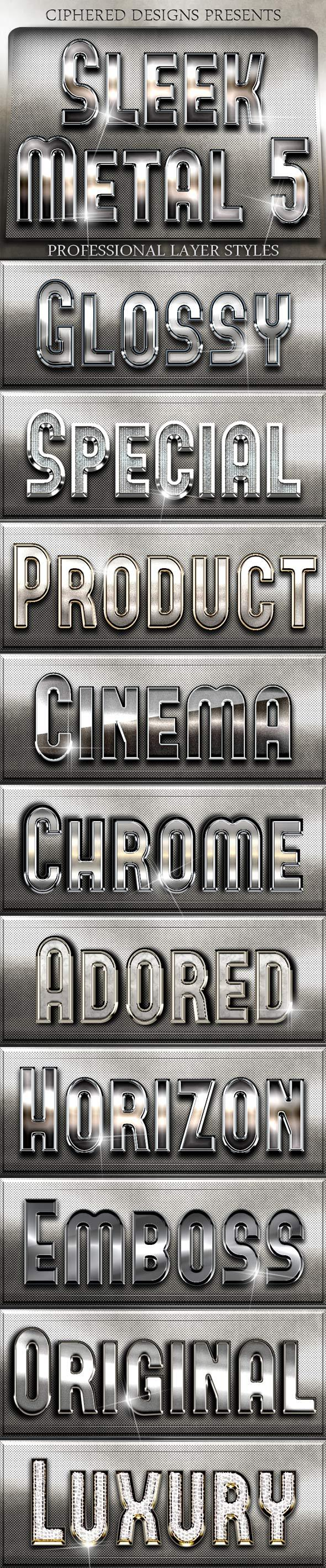 Sleek Metal 5 - Professional Layer Styles - Text Effects Styles
