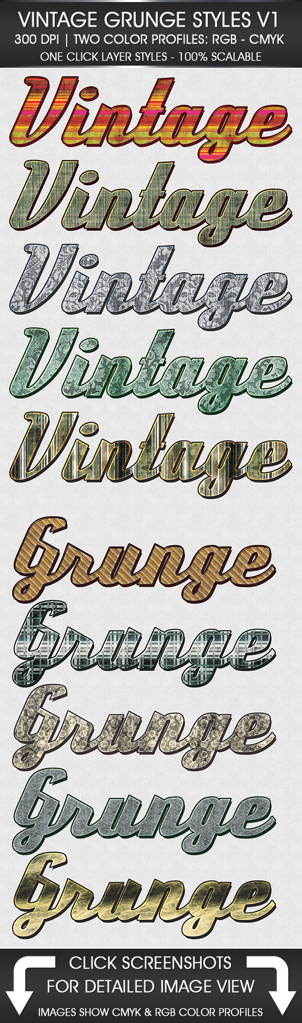 Vintage Grunge Text Styles - Text Effects Actions