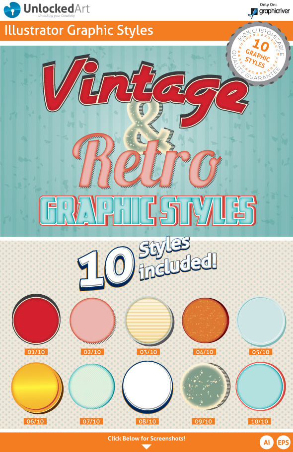 Vintage & Retro Graphic Styles - Styles Illustrator