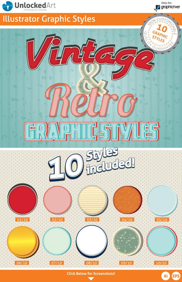 Vintage & Retro Graphic Styles - Styles Illustrator