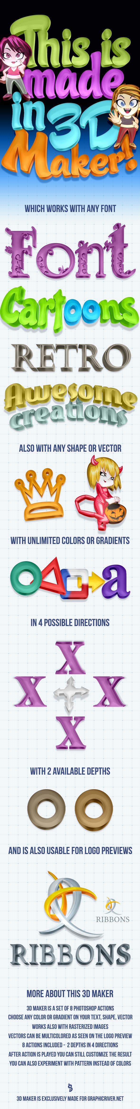 Colorful 3D Maker - Actions Photoshop