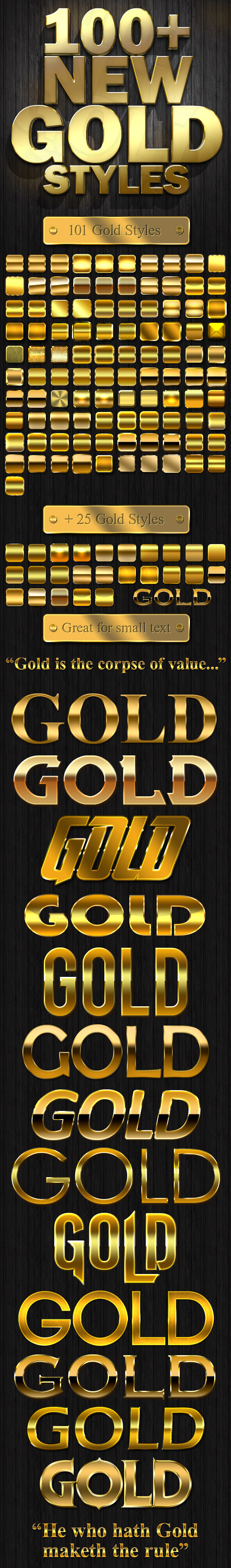100& New Gold Styles