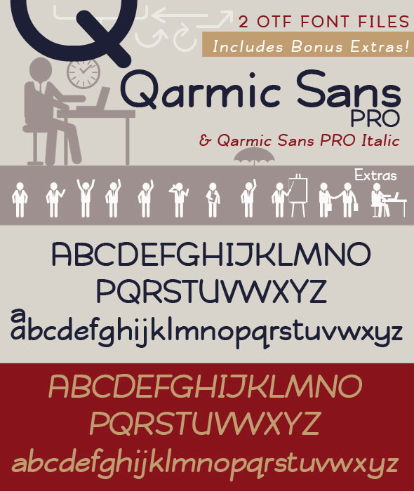 Qarmic Sans PRO with Italic. Clean & Casual  - Fonts