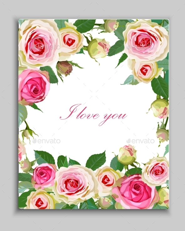 GraphicRiver Floral Background with Vintage Label 8798148