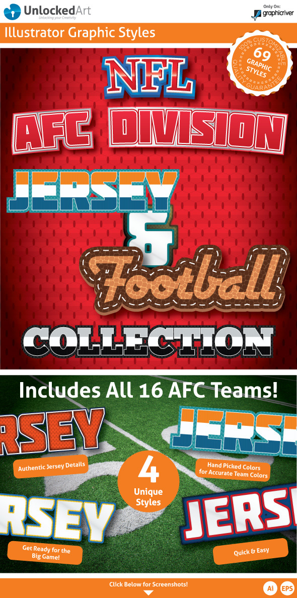 NFL - AFC Division Graphic Styles - Illustrator Add-ons