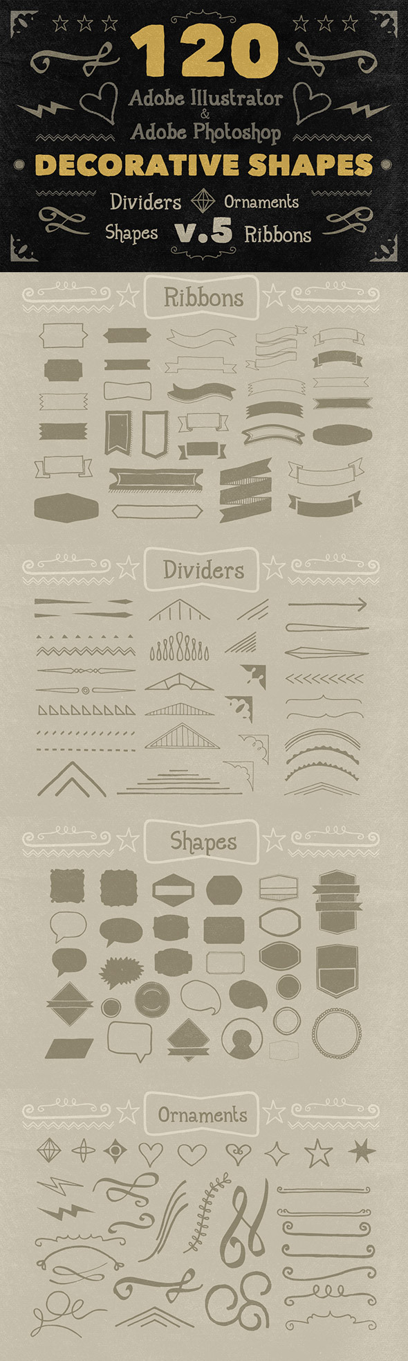 120 Handwritten Decorative Shapes 05 - Symbols Shapes