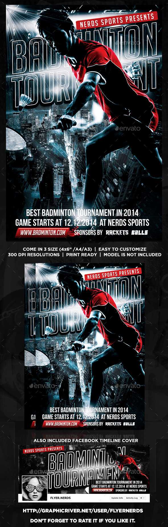 GraphicRiver Badminton Tournament Flyer 8798325