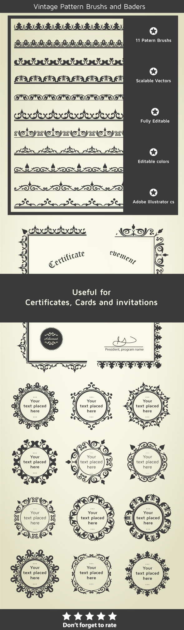 Borders for Certificates, Invitations and Cards - Miscellaneous Brushes