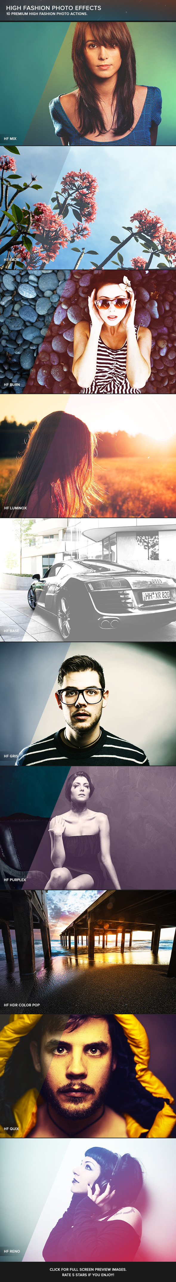 High Fashion Photoshop Actions - Photo Effects Actions