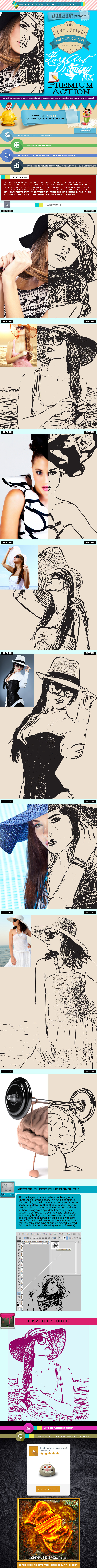 Pure Art Hand Drawing 43 – Fashion Vector Outline - Photo Effects Actions