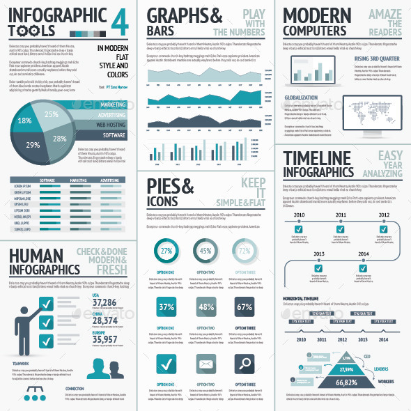 Blue Infographics Vector Elements for Business