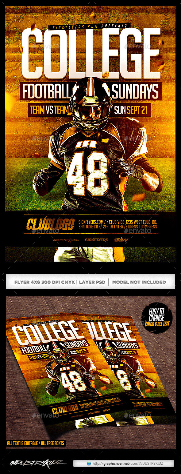GraphicRiver College Football Flyer 8798824