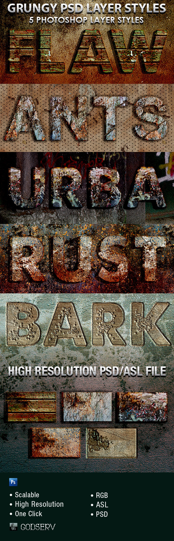Grungy Photoshop Layer Styles - Text Effects Styles