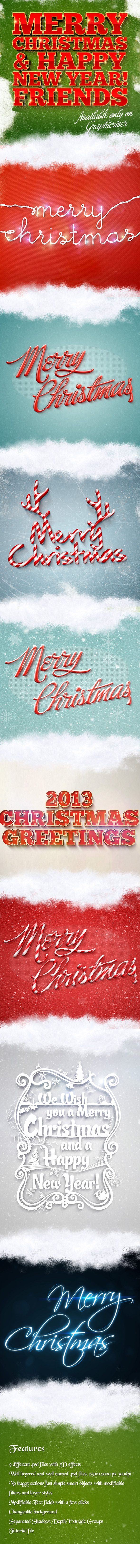 Holiday Christmas 3D Text Effects Pack for Photoshop
