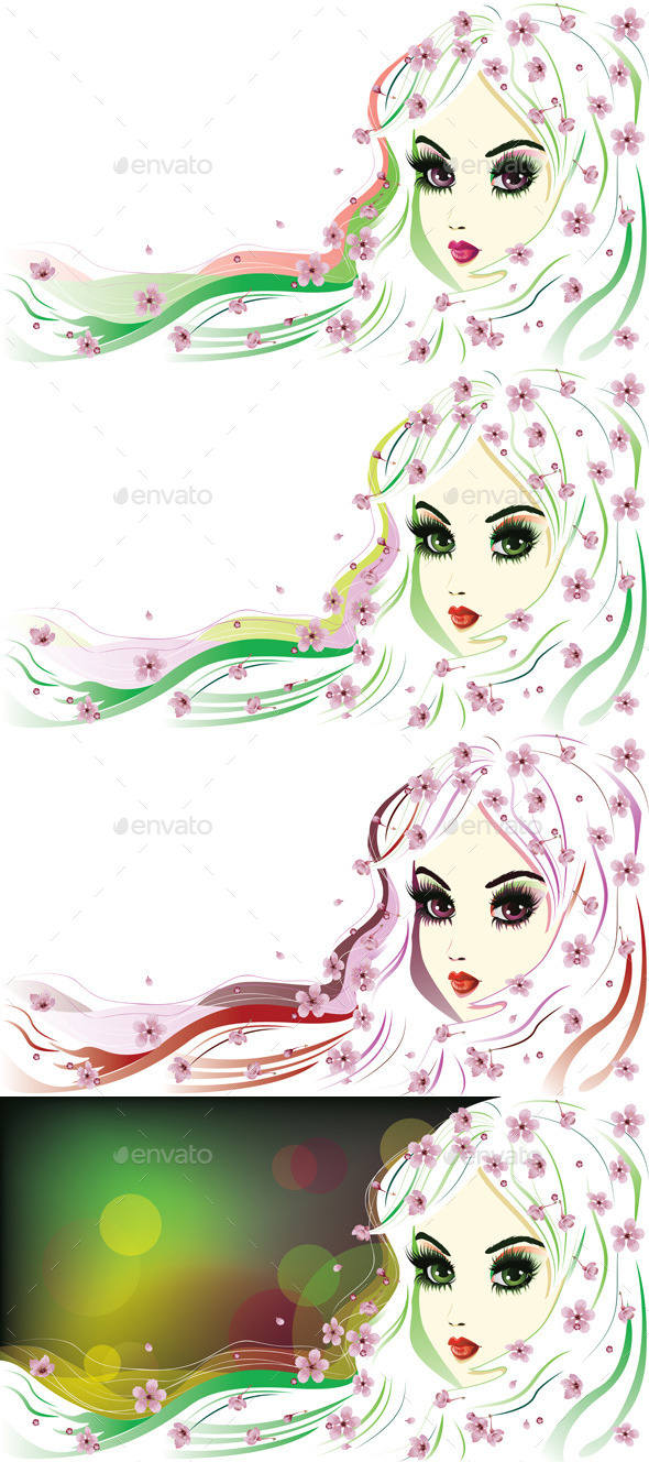 GraphicRiver Floral Girl with White Hair 8799294