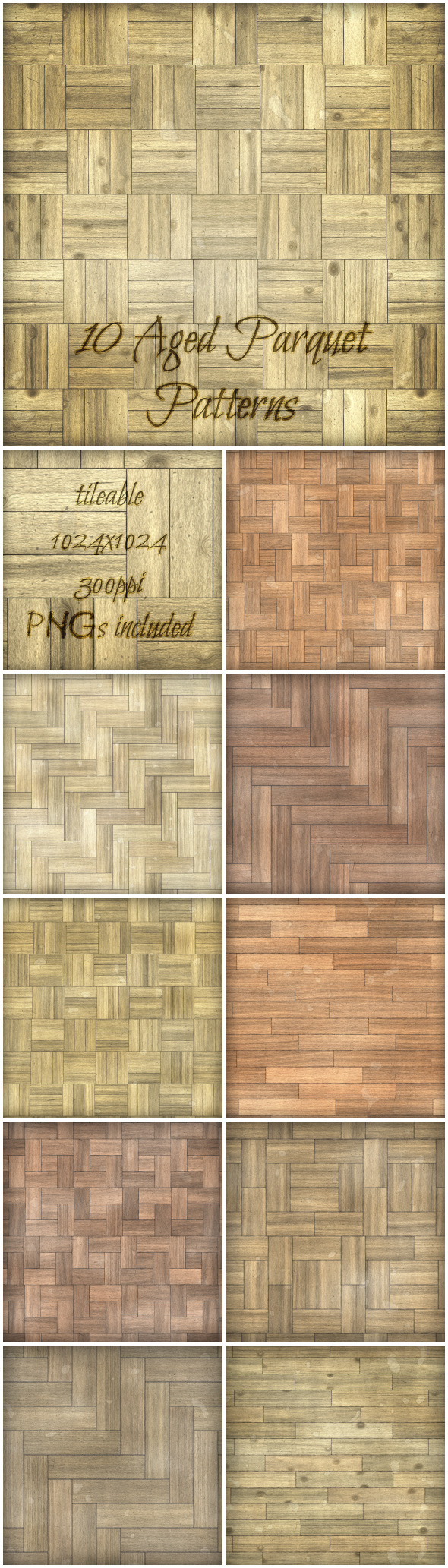 10 Aged Parquet Patterns - Miscellaneous Textures / Fills / Patterns