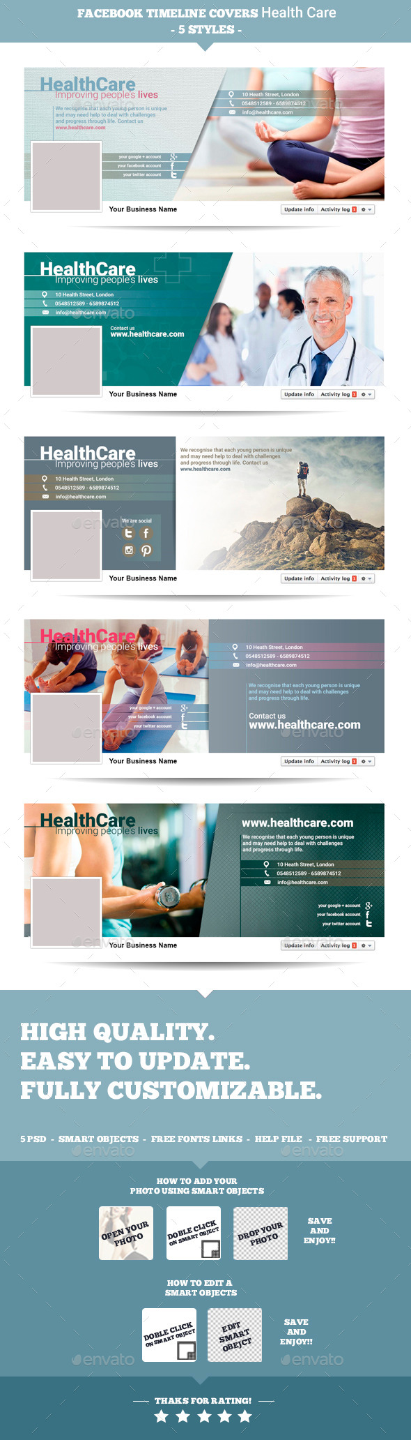 GraphicRiver Facebook Timeline Covers Health Care 8799836