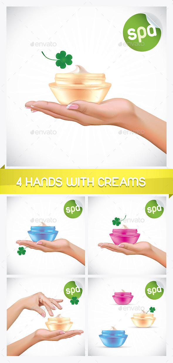 GraphicRiver 4 Woman Hand With Cream Jar Illustrations 8799873