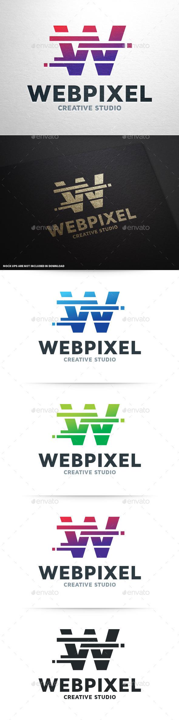 GraphicRiver Web Pixel Letter W Logo 8800188