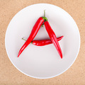 Fresh chili peppers on plate arranged in A letter shape - PhotoDune Item for Sale