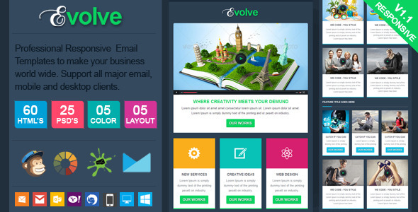 ThemeForest Evolve Professional Responsive Email Template 8779061