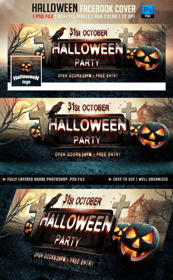 GraphicRiver Halloween Party Facebook Cover 8800461