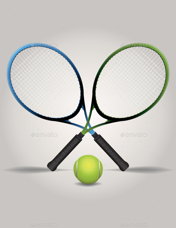 GraphicRiver Vector Tennis Racquets and Ball Illustration 8800831