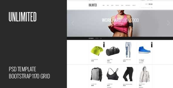 Unlimited – ecommerce theme for online fashion stores. Features 2 Home pages 20 PSD files Based on Bootstrap 1170px Grid System Organized layers and group