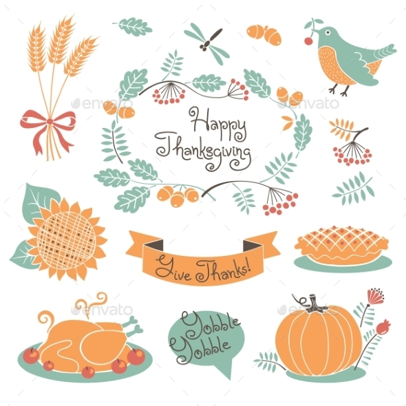 GraphicRiver Happy Thanksgiving Set of Elements for Design 8801250
