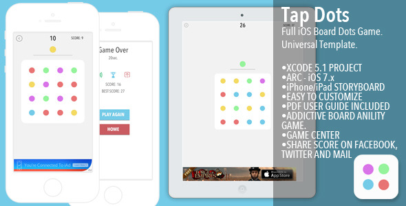 CodeCanyon TapDots Full iOS Board Game Template 8801588